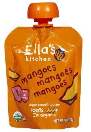 Ella's Kitchen Organic Baby Food - Mangos, Mangos, Mangos, 2.5 Oz (6 Pouches)
