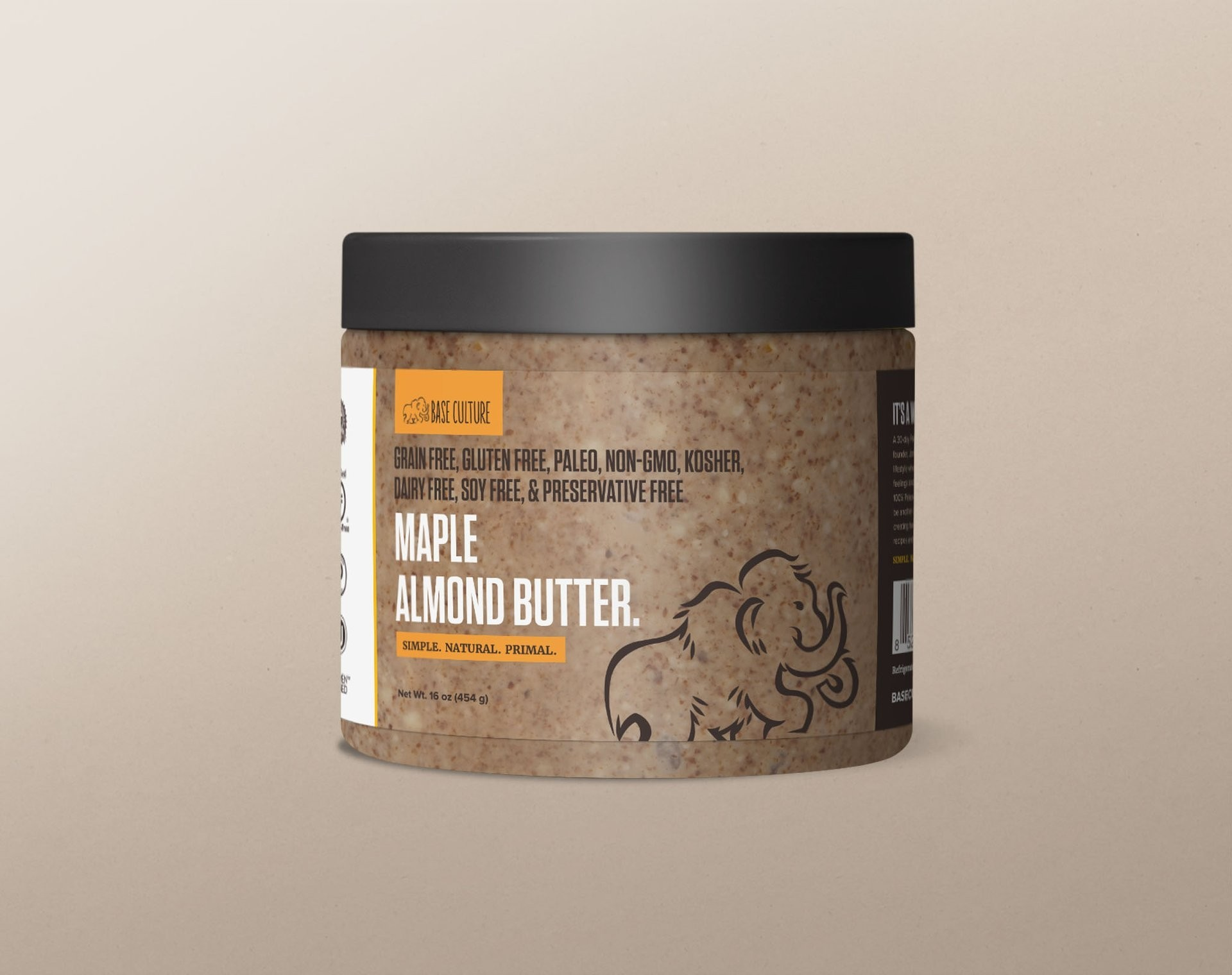 Base Culture 100% Paleo & Gluten Free Almond Butter, Maple Almond, 16 Ounce