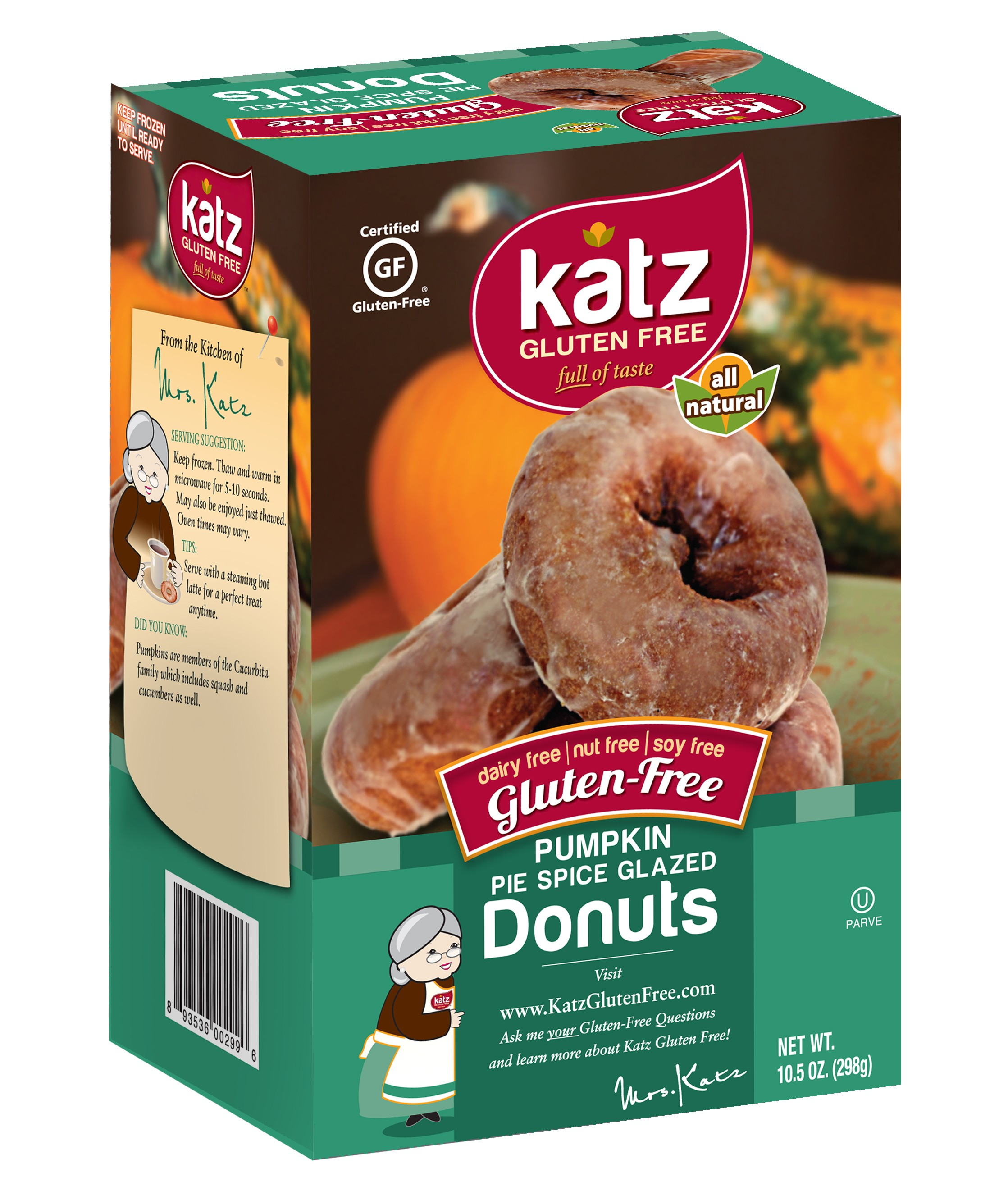 Katz Gluten Free Pumpkin Pie Spice Glazed Donuts[Case of 6]