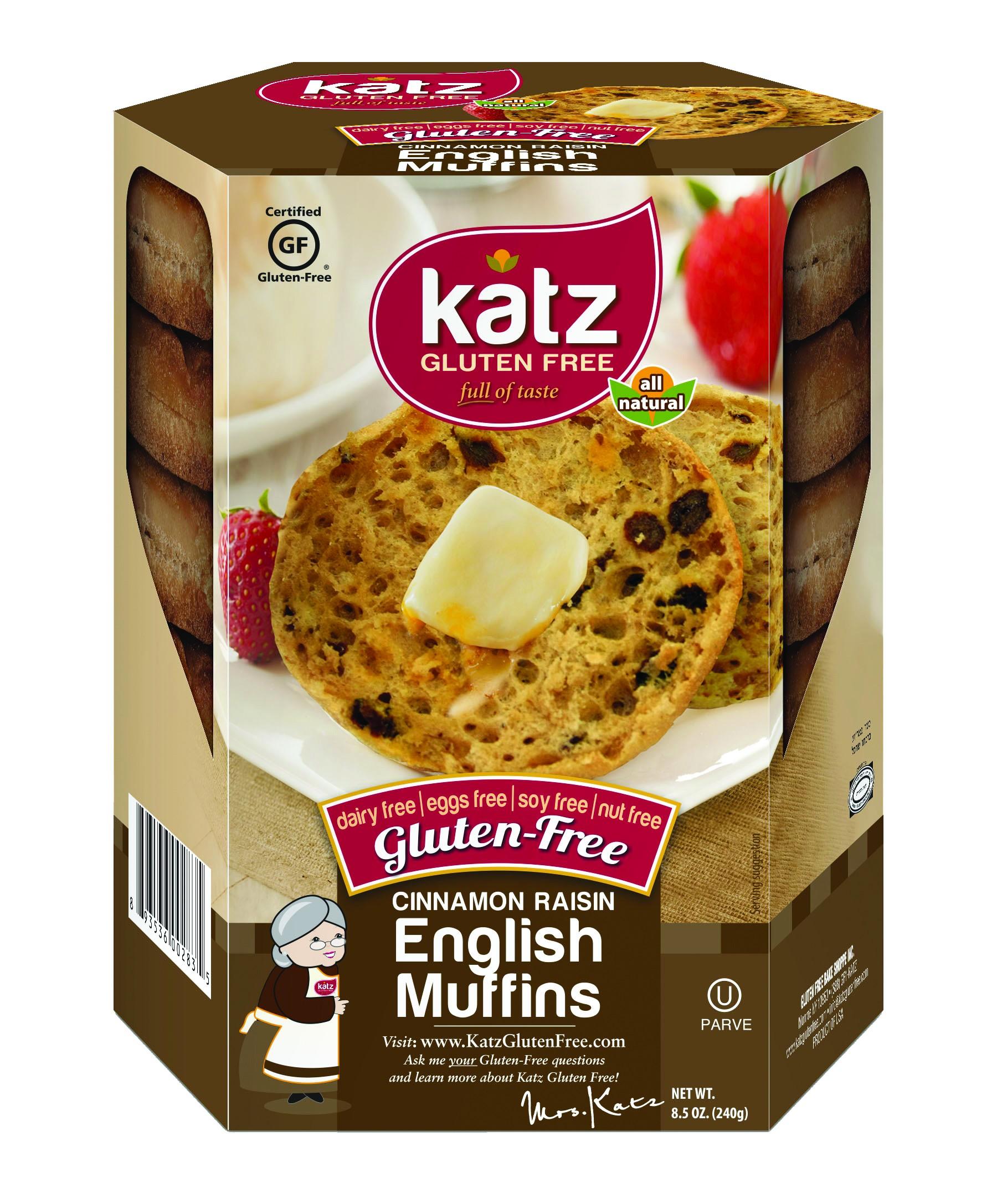 Katz Gluten Free Cinnamon Raisin English Muffins, Case of 6