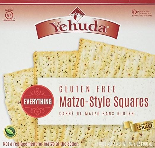 Yehuda Gluten Free Matzo Squares, Everything (Case of 12)