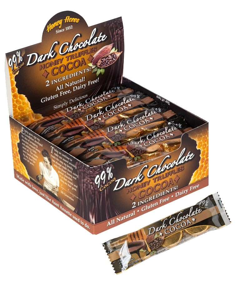 Honey Acres Honey Truffles, Dark Chocolate Orange, 24 pieces Trio