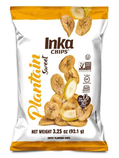 Inka Chips Sweet Plantain Chips, 3.25-Ounce bags