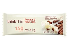 Think Thin Protein and Fiber  Bars, Cinnamon Bun White Chocolate, 1.41 oz [10 Pack]