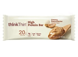 Think Thin High Protein Bars, Creamy Peanut Butter, 2.1 oz [10 Pack]