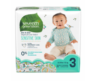 Seventh Generation Baby Diapers, Free and Clear for Sensitive Skin, Size 3, 31 pieces [4 Pack]