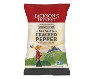 Jackson's Honest Organic Potato Chips Made with Coconut Oil, Sea Salt Cracked Pepper, 5 Oz (12 Pack)