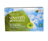 Seventh Generation Natural Fabric Softener Sheets, Free & Clear, 80 Sheets