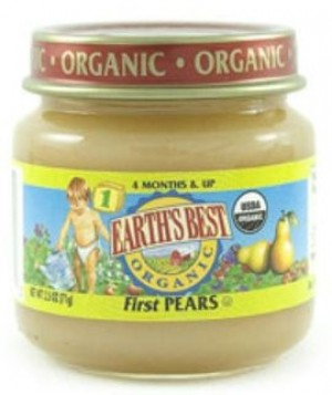 Earth's Best Baby Food Jar, First Pears