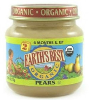Earth's Best Baby Food Jar, Strained Pears
