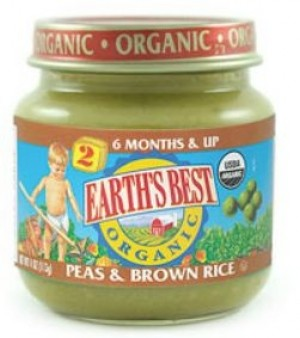 Earth's Best Baby Food Jar, Strained Peas and Brown Rice