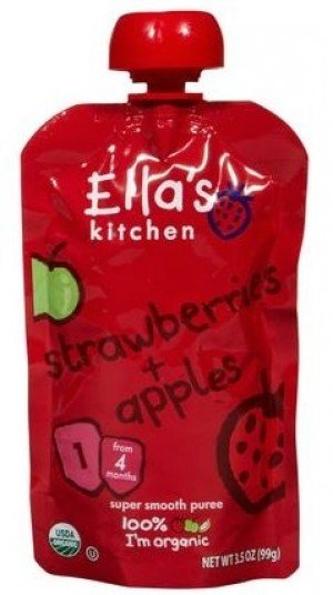 Ella's Kitchen Organic Baby Food - Strawberry & Apple, 3.5 Oz (6 Pouches)