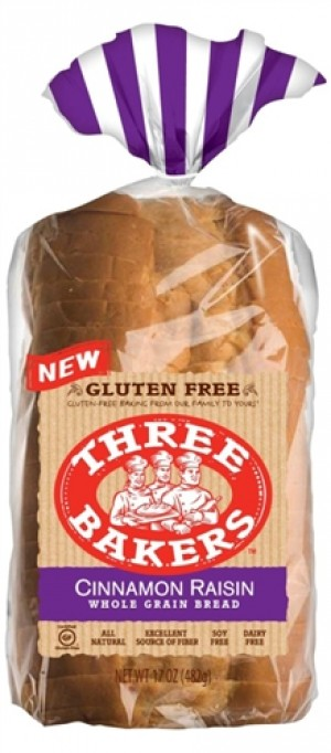 Three Bakers Cinnamon Raisin Whole Grain Bread [Case of 6]