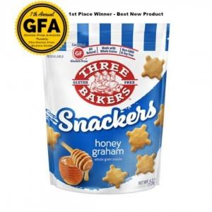 Three Bakers Gluten Free Snackers, Honey Graham, 4.5 Oz [8 Pack]