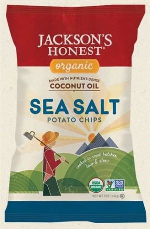 Jackson's Honest Organic Potato Chips Made with Coconut Oil, Sea Salt, 5 Oz (12 Pack)