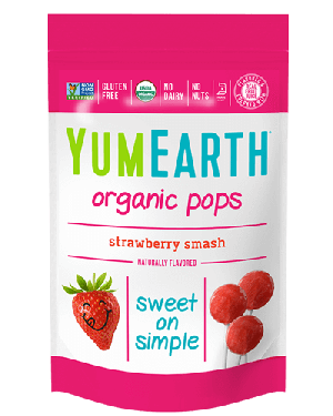 Yummy Earth Family Size Organic Pops Pouch, Strawberry Smash Pops