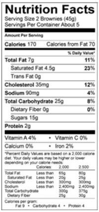 udi's brownie bite nutrition