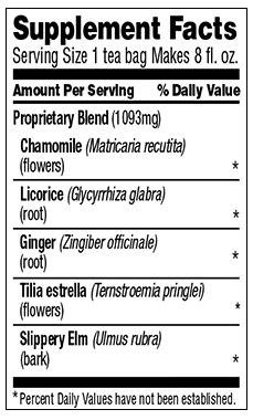 celestial seasoning throat tamer nutrition