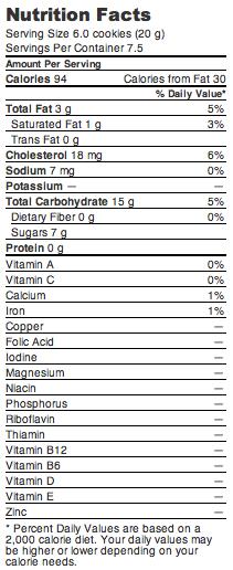 gefen vanilla cookie nutrition