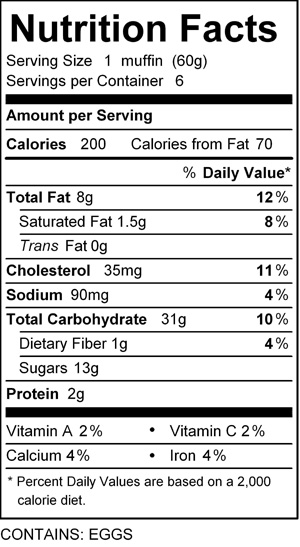 katz blueberry muffin nutrition