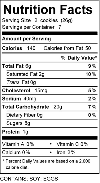 katz chocolate dipped cookie nutrition