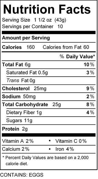 Katz cinnamon strip nutrition