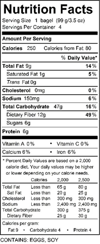 katz poppyseed bagel nutrition