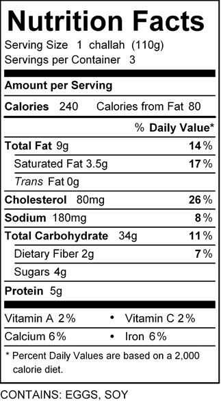 katz lg challah roll nutrition