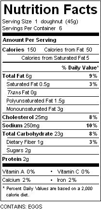 katz powdered donut nutrition