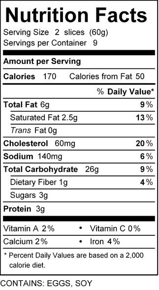 katz s;iced challah nutrition