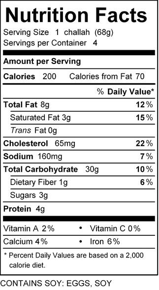katz small challah roll nutrition