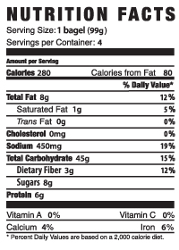 udi's cinnamon raisin bagel nutrition