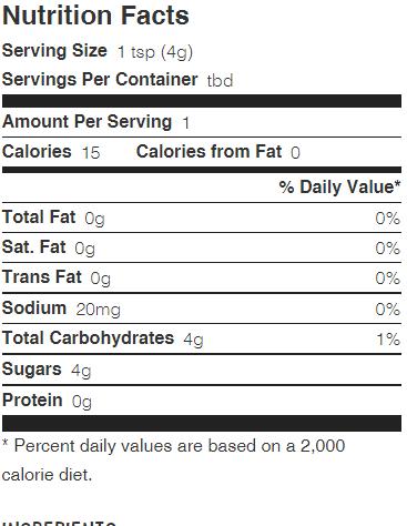 wholesome sweetener brown sugar nutrition