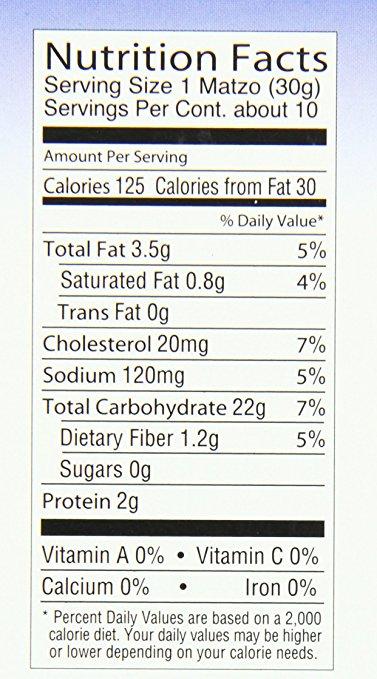 yehuda matzo squares nutrition