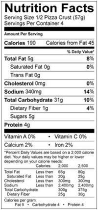 udi's pizza crust nutrition