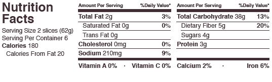 schar multigrain nutrition